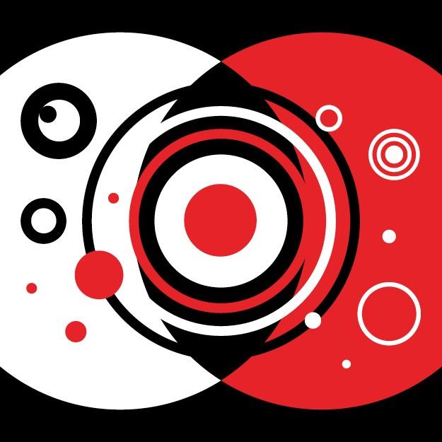 abstraktes Bild eines rot-schwarzen Auges