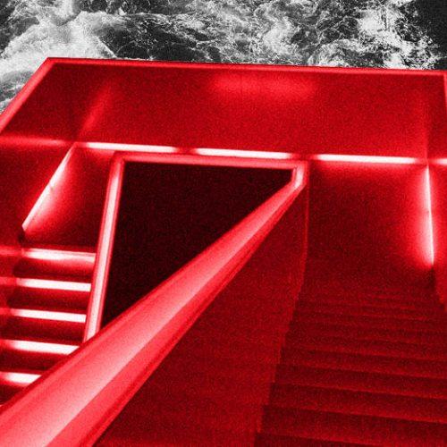 eine Treppe mit Neon-Lichter